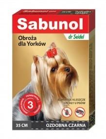 Preparaty lecznicze - Sabunol Obroża czarna przeciw pchłom i kleszczom dla psa 35cm