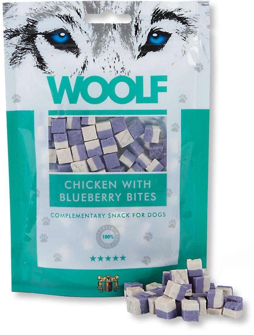 Przysmaki dla psa - Woolf Przysmak Chicken with Blueberry Bites 100g
