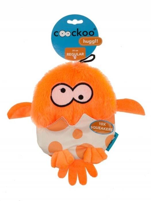 Zabawki - Coockoo Huggl piszcząca zabawka aport pomarańczowa 24 x 18cm
