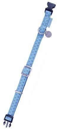 Smycze, obroże, szelki - Zolux Obroża regulowana Mac Leather 15mm niebieska