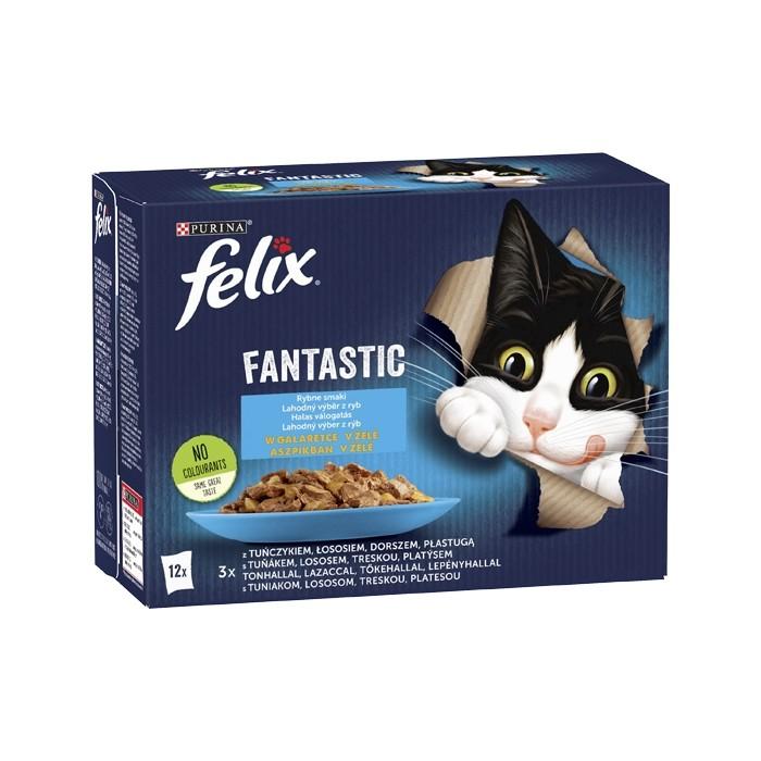 Karmy mokre dla kota - Felix Fantastic w galaretce Wybór Dań Rybnych 85g x 12 (multipak)