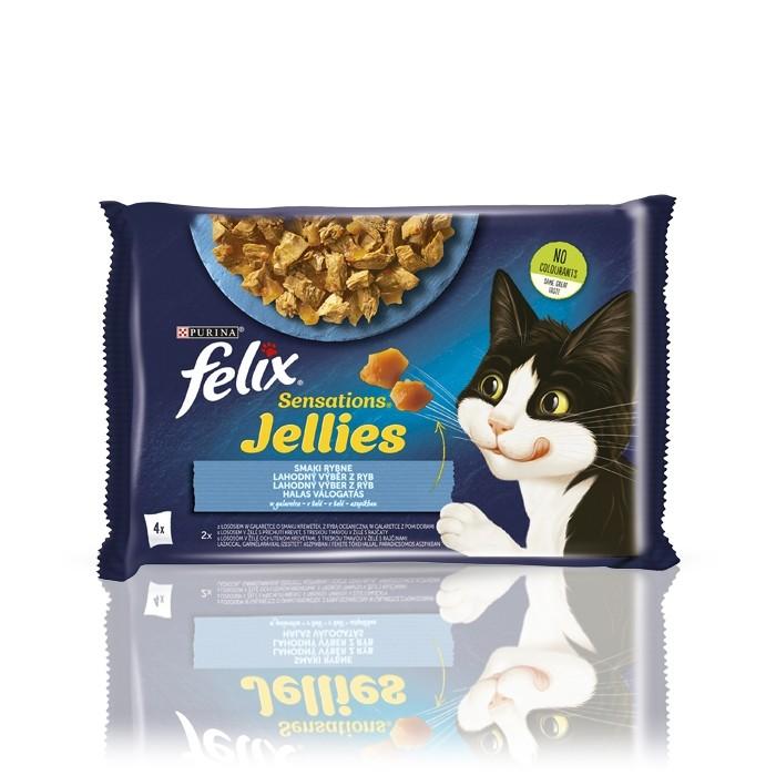 Karmy mokre dla kota - Felix Sensations w galaretce łosoś 85g x 4 (multipak)