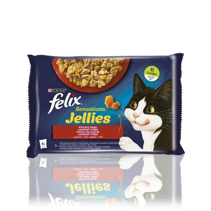 Karmy mokre dla kota - Felix Sensations w galaretce wołowina i kurczak 85g x 4 (multipak)