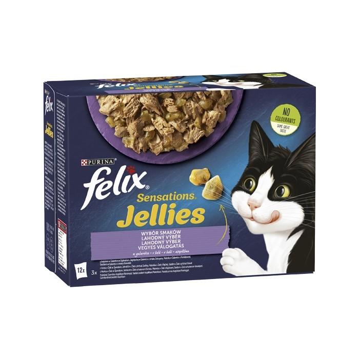 Karmy mokre dla kota - Felix Sensations w galaretce Wybór Mięs 85g x 12 (multipak)