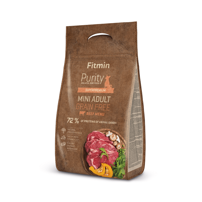 Karmy suche dla psa - Fitmin Dog Purity Grain Free Adult Mini Beef