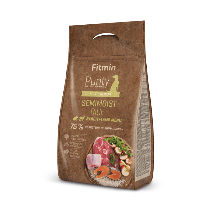 Karmy suche dla psa - Fitmin Dog Purity Semimoist Rice, Rabbit & Lamb