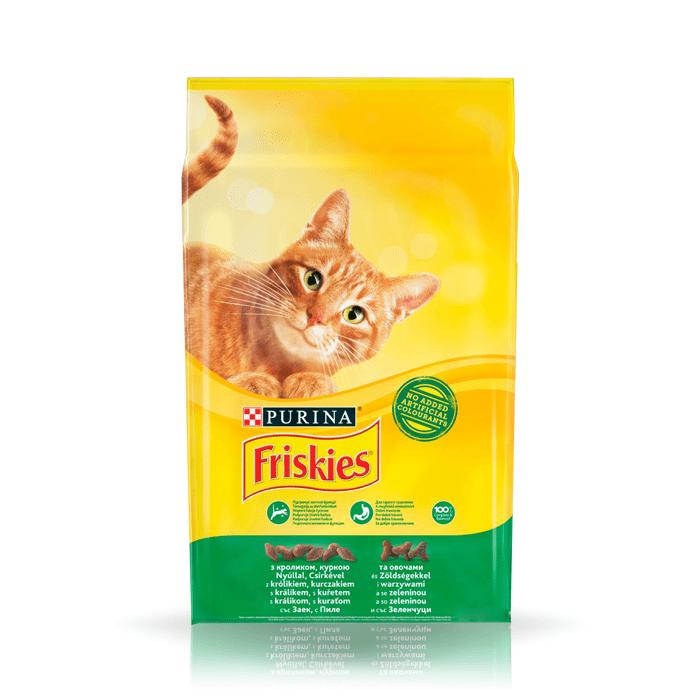 Karmy suche dla kota - Friskies Adult z królikiem kurczakiem i warzywami