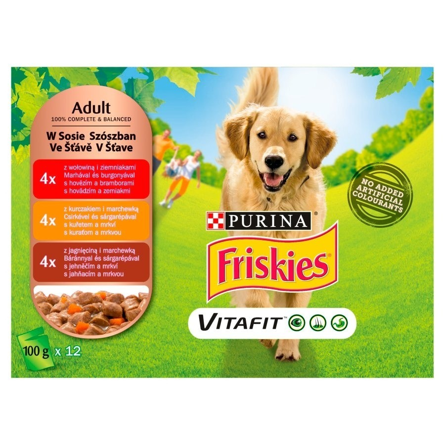 Karmy mokre dla psa - Friskies Adult z mięsem i warzywami w sosie 100g x 12 (multipak x 1)