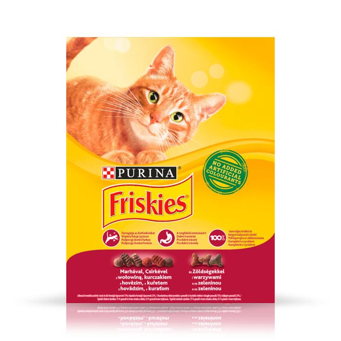 Karmy suche dla kota - Friskies z mięsem kurczakiem i warzywami