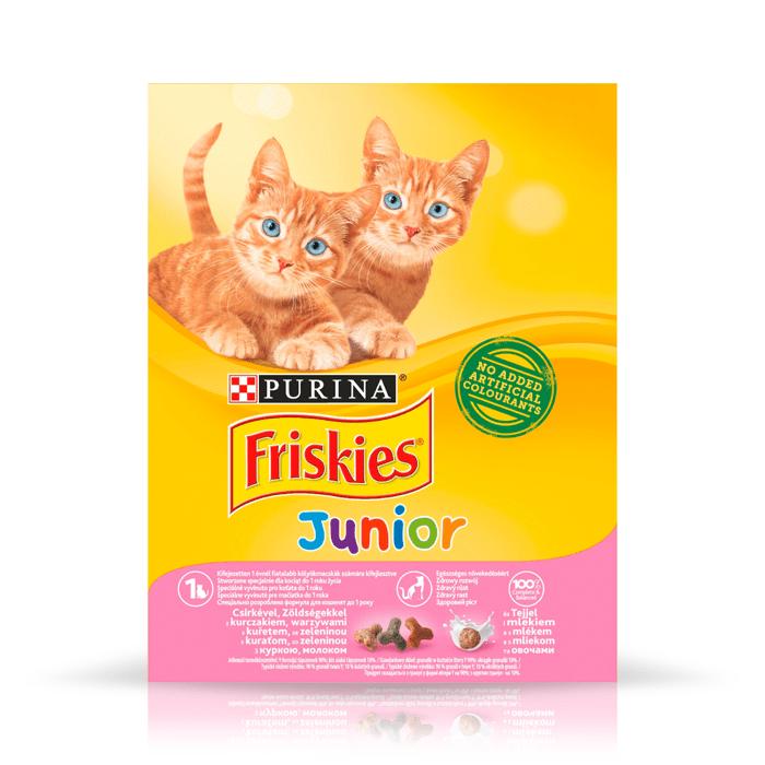 Karmy suche dla kota - Friskies Junior z kurczakiem i marchewką