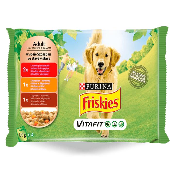 Karmy mokre dla psa - Friskies Adult w sosie 100g x 16 (multipak x 4)