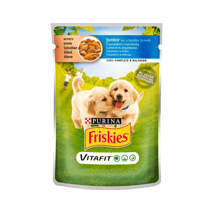 Karmy mokre dla psa - Friskies Junior w sosie 100g x 12
