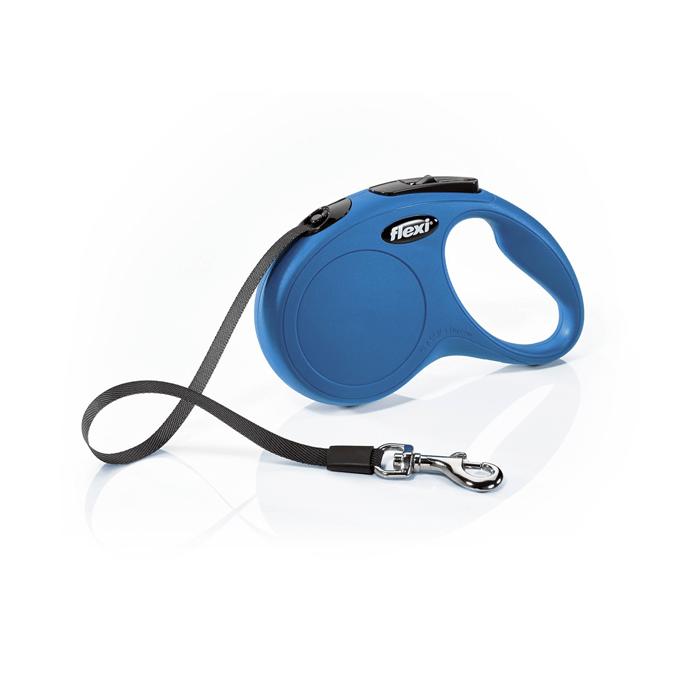 Smycze, obroże, szelki - Flexi Smycz New Classic taśma niebieska [rozmiar M-L] 5m/50kg