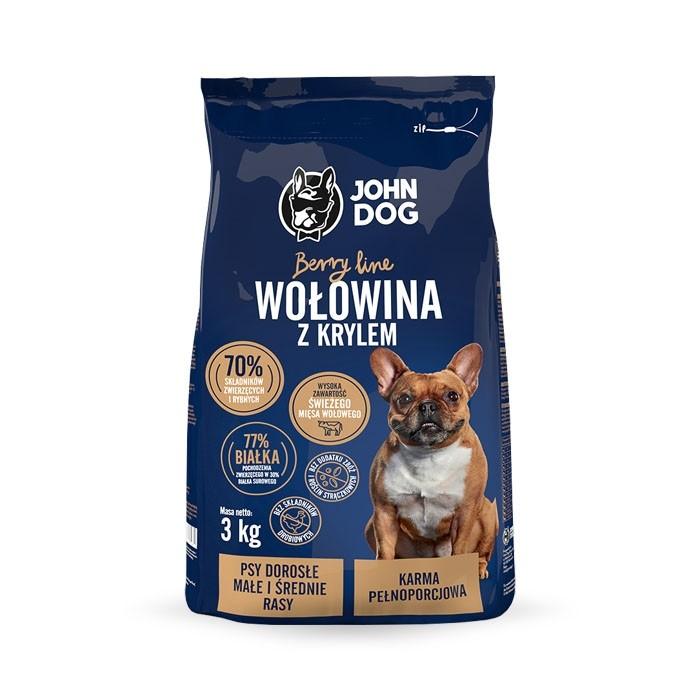 Karmy suche dla psa - John Dog Berry Mini/Medium Adult wołowina i kryl