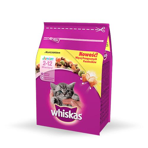 Karmy suche dla kota - Whiskas Junior z kurczakiem