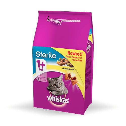 Karmy suche dla kota - Whiskas Adult Sterile z kurczakiem