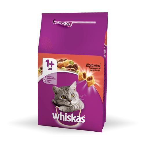 Karmy suche dla kota - Whiskas Adult z wołowiną i marchewką