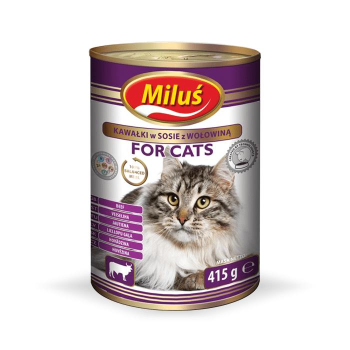 Karmy mokre dla kota - Miluś Adult kawałki w sosie 415g x 12