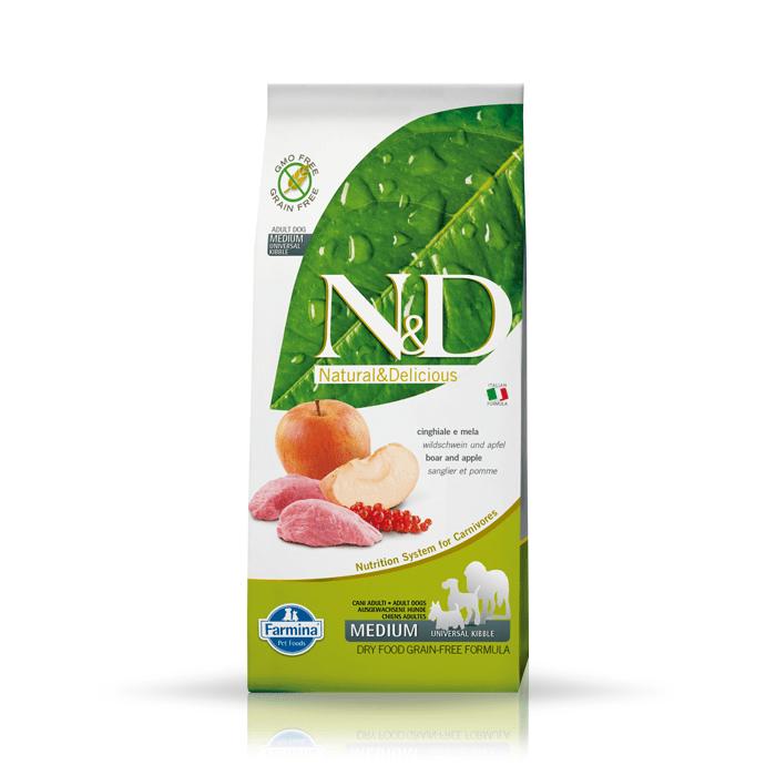 Karmy suche dla psa - Farmina N&D GF Adult Dog Boar & Apple 12kg