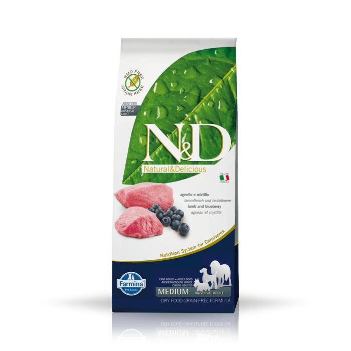Karmy suche dla psa - Farmina N&D GF Adult Dog Lamb & Blueberry