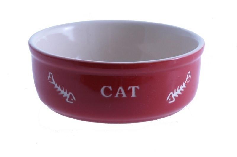 Miski i akcesoria do misek - Nobby Miska ceramiczna dla kota czerwona z ością