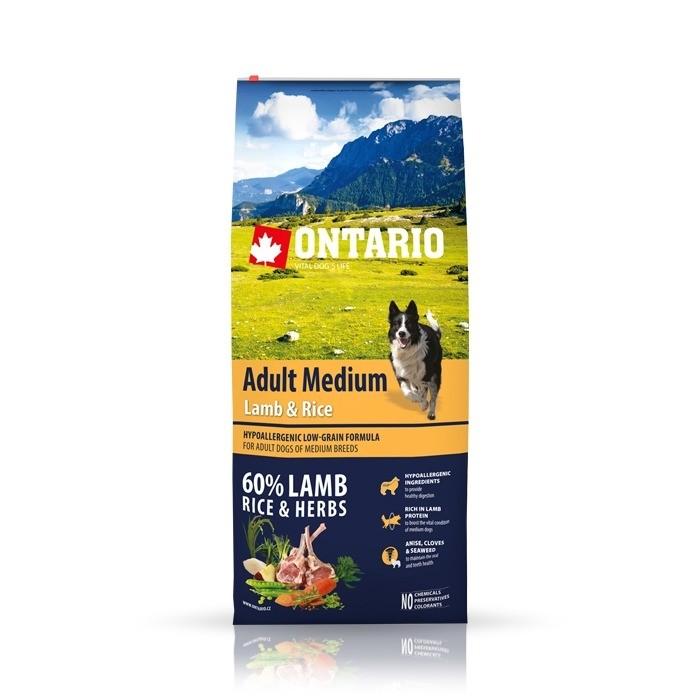 Karmy suche dla psa - Ontario Adult Medium Lamb & Rice