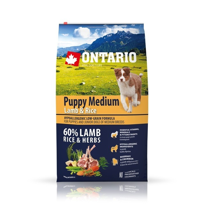 Karmy suche dla psa - Ontario Puppy Medium Lamb & Rice