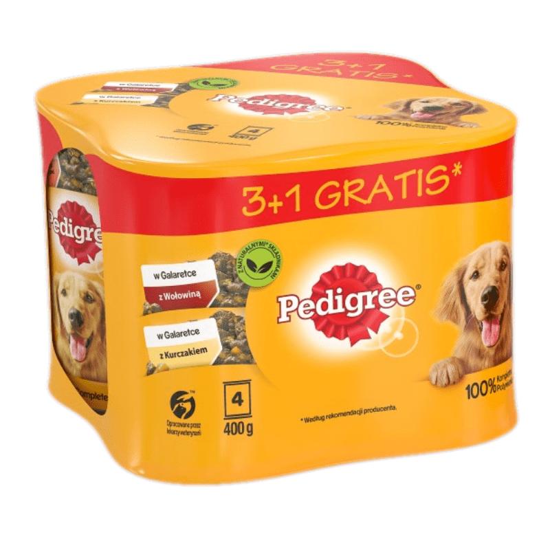 Karmy mokre dla psa - Pedigree Adult kurczak i wołowina 400g x 4 (3 + 1 GRATIS)
