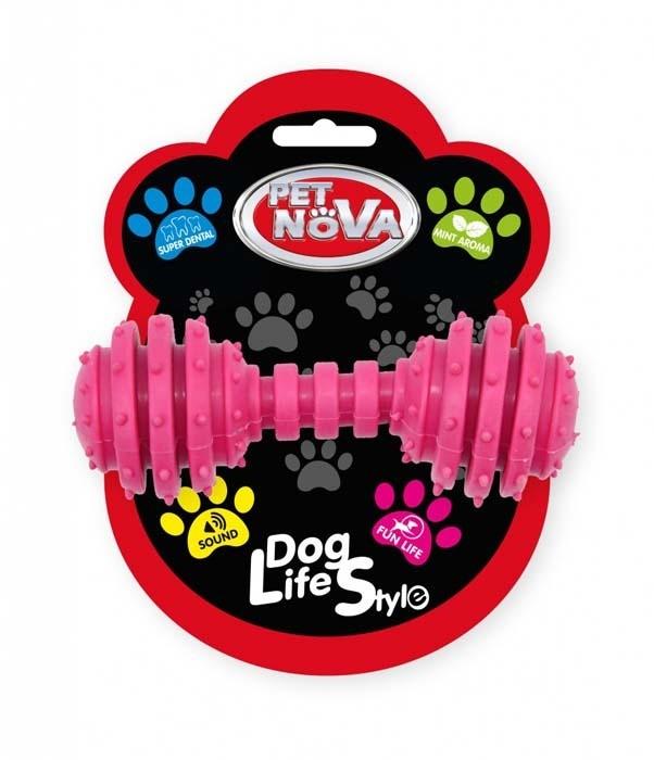 Zabawki - Pet Nova Hantel dentystyczny DumbBell z miętą różowy 12cm