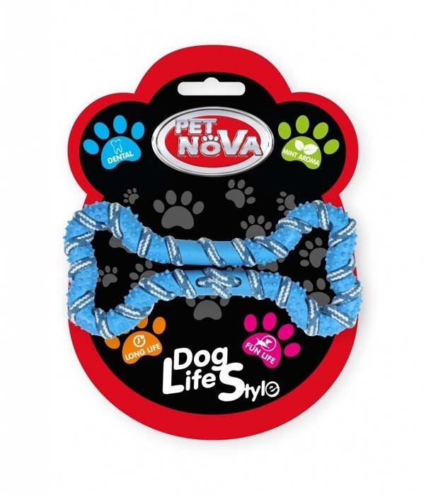 Zabawki - Pet Nova Kość miętowa RopeBone ze sznurkiem niebieska 20cm