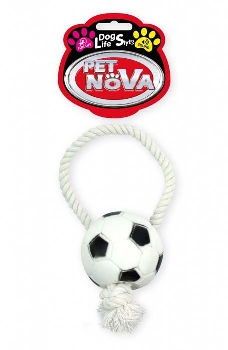 Zabawki - Pet Nova Piłka futbolowa Rope-Soccer Ball ze sznurkiem 28cm