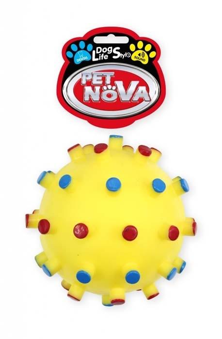 Zabawki - Pet Nova Piłka jeżowa DentBall z dźwiękiem żółta [rozmiar XL] 12cm
