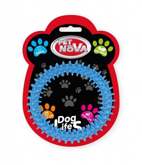 Zabawki - Pet Nova Ringo miętowe DentRing z gumy niebieskie 12,5cm