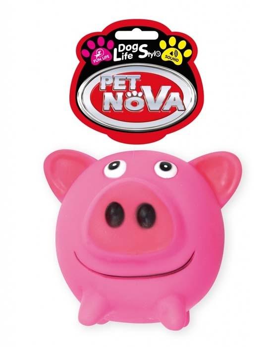 Zabawki - Pet Nova Świnka gumowa Pig Ball z dźwiękiem 10cm