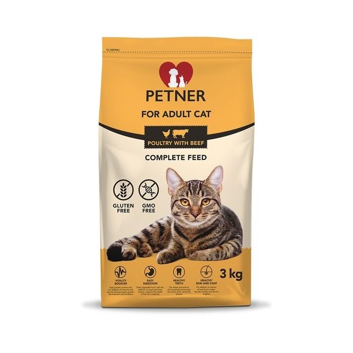 Karmy suche dla kota - Petner Adult Cat z kurczakiem i wołowiną