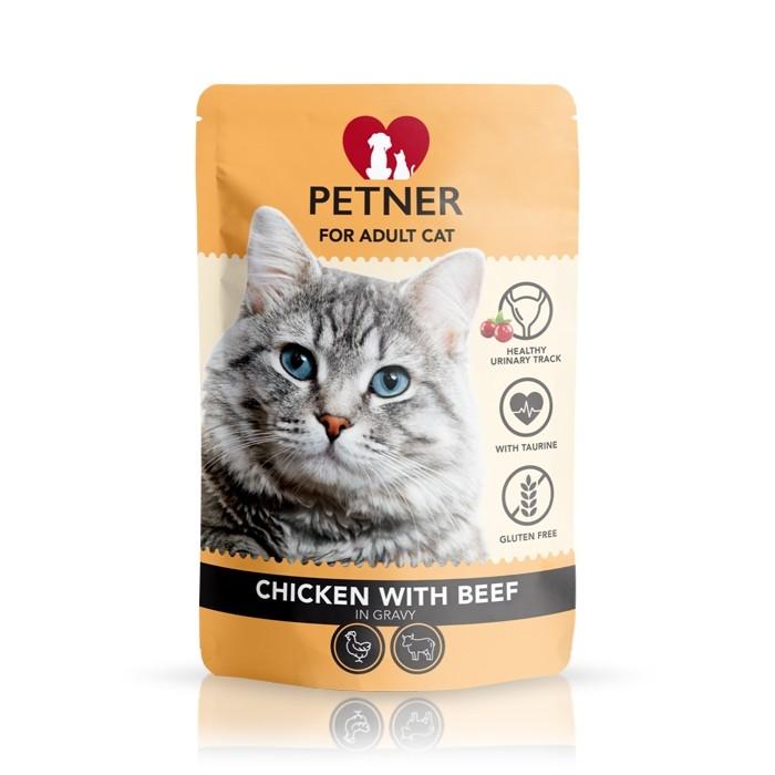 Karmy mokre dla kota - Petner Cat z kurczakiem w sosie 85g x 12