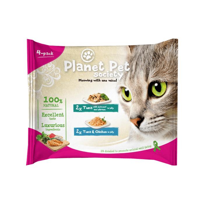 Karmy mokre dla kota - Planet Pet Society tuńczyk i wodorosty 4 x 50g