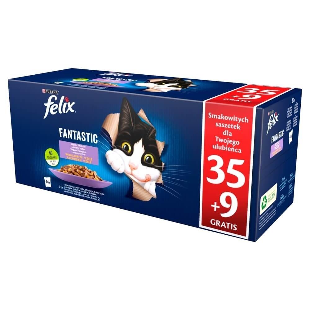 Karmy mokre dla kota - Felix Fantastic Adult Wybór Smaków w galaretce 85g x 44 (35 + 9 GRATIS)