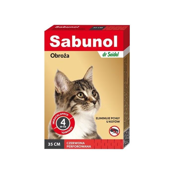 Preparaty lecznicze - Sabunol Obroża czerwona przeciw pchłom dla kota 35cm