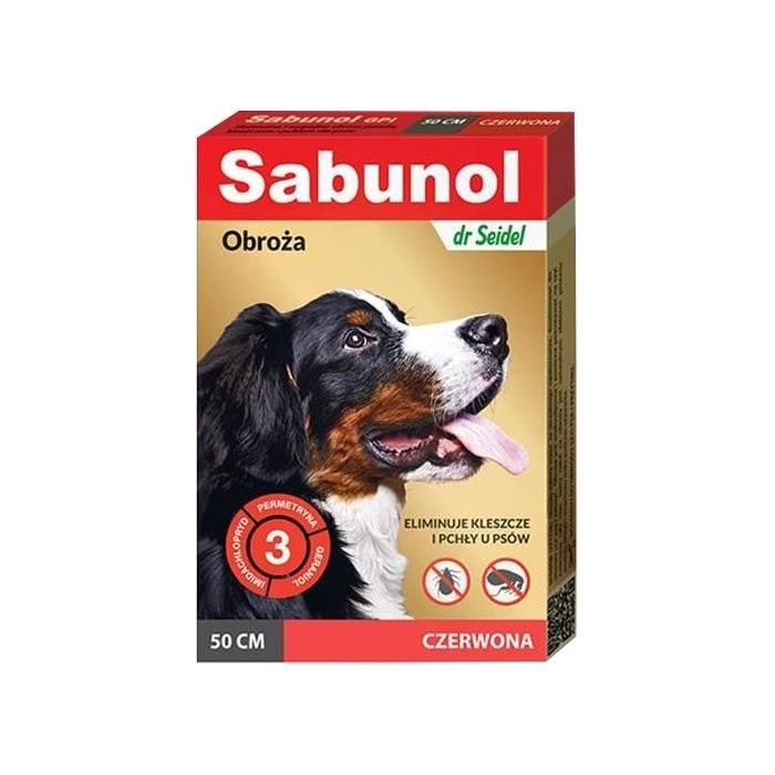 Preparaty lecznicze - Sabunol Obroża czerwona przeciw pchłom i kleszczom dla psa