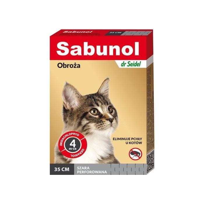 Preparaty lecznicze - Sabunol Obroża szara przeciw pchłom dla kota 35cm