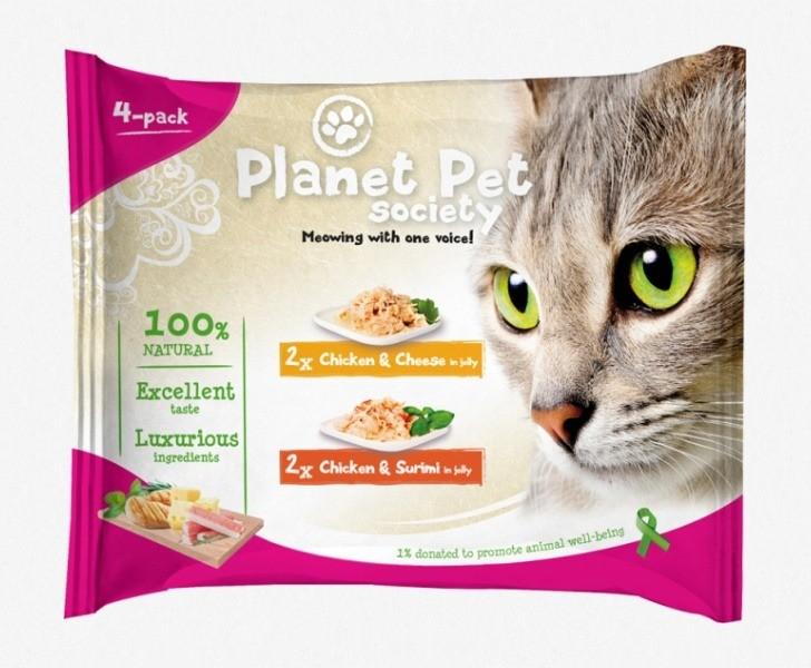 Karmy mokre dla kota - Planet Pet Society kurczak, ser i surimi 4x50g
