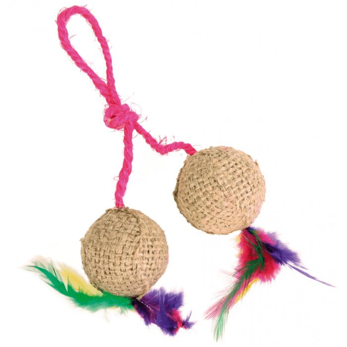 Zabawki - Trixie Piłki sizalowe z kociąmiętką 2szt. 4,5cm