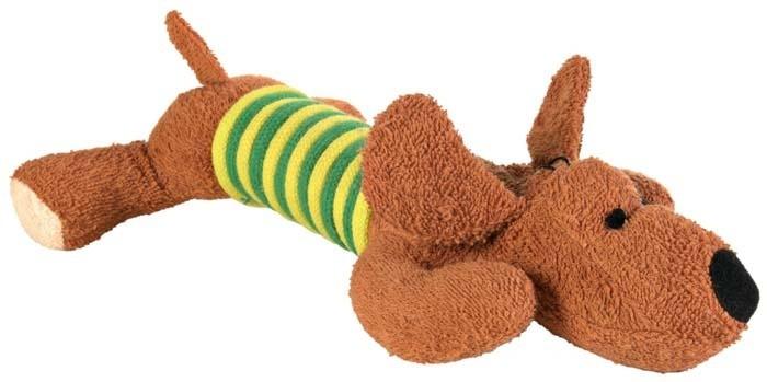 Zabawki - Trixie Piesek szmaciany ze sznurem 28cm