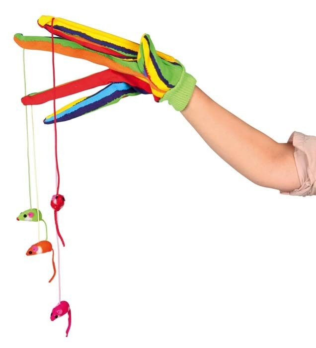 Zabawki - Trixie Rękawica z myszkami kolorowa 30cm