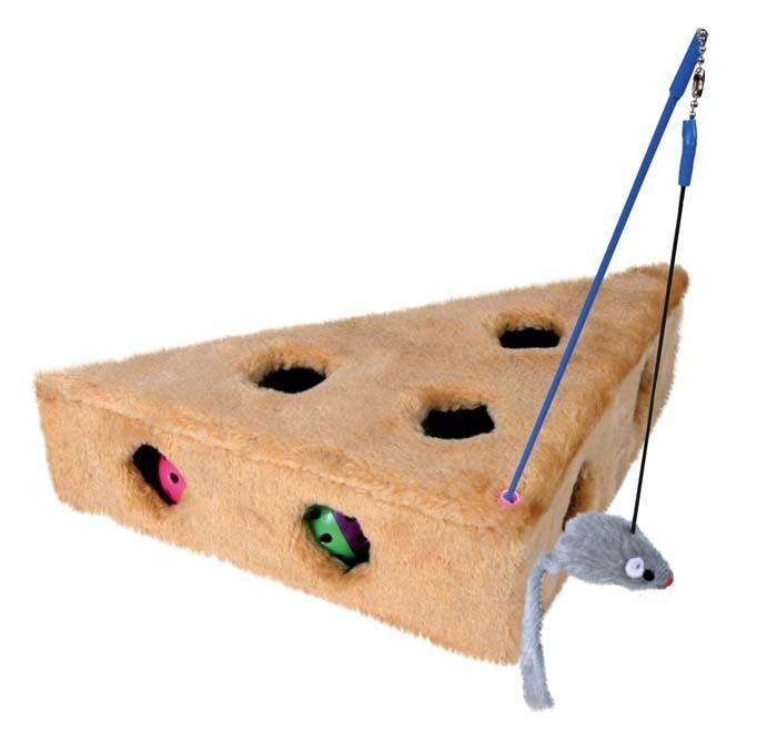 Zabawki - Trixie Serek pluszowy z myszką na patyku 36 x 8 x 26cm