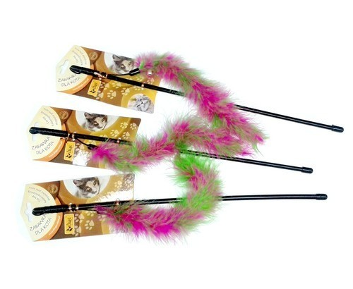 Zabawki - Dingo Wędka dla kota ogonek z piórkami różowo-zielony