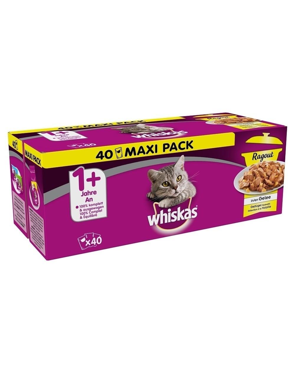 Karmy mokre dla kota - Whiskas Wybór dań drobiowych w galaretce 85g x 40 (multipak)