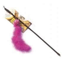 Dingo Wędka dla kota piłka z ogonkiem różowy