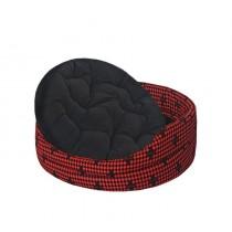 Chaba Legowisko Owalne Standard z poduszką czerwona szachownica